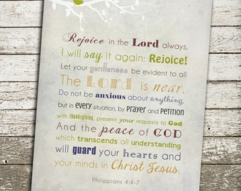 Bible Verses for the Wall - Philippians 4:4-7 Art - Do not be anxious about anything
