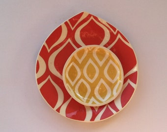 Handmade Ceramic Lunch plate Tomato red  with mod ornate pattern