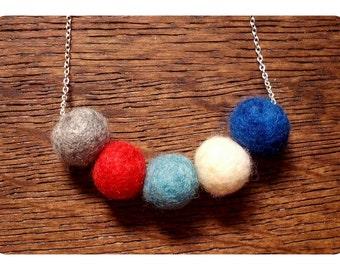 Handmade Felt Ball Necklace // Jewelry // Felted Balls // Red White Blue // Needle Felting