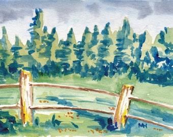 New England Watercolor Original Landscape