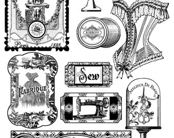 ADD-ON Collection One for Vintage Sewing Bird Board Book Digital Stamps, Thread Winders, and Template Instant Download Digital Printable