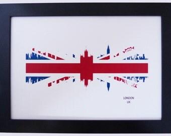 London Skyline Print with Union Jack UK Flag background