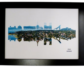 Oslo Norway Skyline Print with aerial city photo