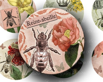 INSTANT DOWNLOAD Digital Collage Sheet Save the Bees Beekeeping Queen Bee Antique Two 2 Inch Circles for Pendants Magnets Crafts (CTWO11)