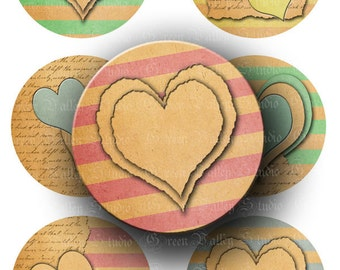 INSTANT DOWNLOAD Paper Hearts Digital Images Collage Sheet Love Stripes Two 2 Inch Circles for Pendants Tags Magnets Scrapbook (CTWO12)