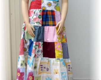 Sale Patchwork Skirt, Woman Bustle Patch Long maxi Skirt Hippie Bohemian tiered gypsy Large Handmade women plus size skirt cotton BoHo dress