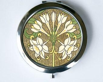 Art Nouveau Floral Compact Mirror Pocket Mirror flowers