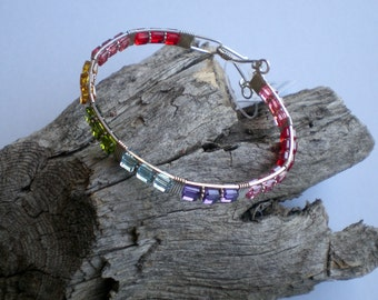 Swarovski crystals rainbow bracelet  Wire wrapped bracelet rainbow crystal beads and silver filled wire wrapped bangle bracelet