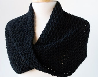 Merino Wool Knit Scarf or Shoulder Wrap - Infinity Scarf - Black