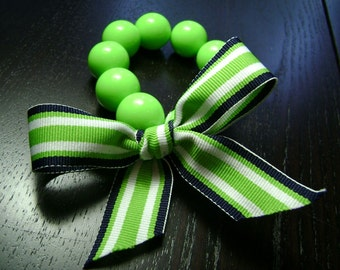 CLEARANCE !!! Lime Green and Navy Blue Striped Bow Bracelet