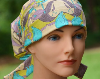 LARGE Surgical Scrub Cap or Cancer Hat -Perfect Fit Tie Back with FABRIC TIES- Winter Landscape