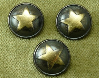 Polished Antique Brass and Black Rimmed Domed Star Buttons  90960 H31