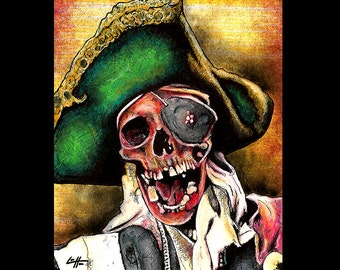 "Print 8x10"" - One Eyed Willy - The Goonies Pirate Ship Eye Patch 80s Pop Art Monster Lowbrow Art Skull Skeleton Villian Treasure Vintage LOL"