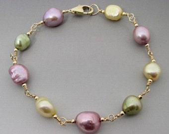 Pastel Freshwater Pearl 14kt Gold Filled Bracelet LTD ED