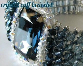Crystal Cuff Bracelet, Ombre Shaded, Tutorial Only, Instant Download
