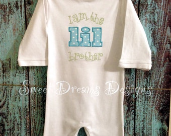 Boys appliqued Little Brother  Romper - Sizes 3m-24m - I am the little brother