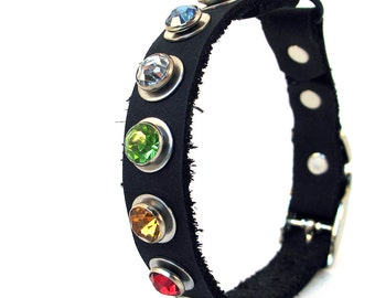 Black Leather Cat Collar with Jewel Tone Crystals, Eco-Friendly, Size to fit a 8-10 Neck, Reclaimed Leather, OOAK