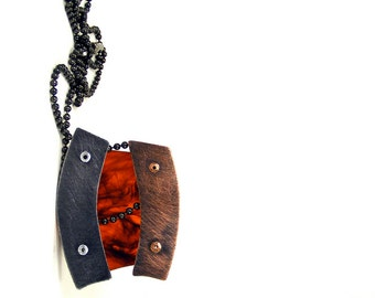 Oxidized Copper Steel and Tortoiseshell Resin Riveted Pendant Necklace - Nurture