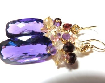 Huge Purple Amethyst  Faceted Rectangular Briolette (41.08 ct), Gold Diamond Earring Hook Earrings