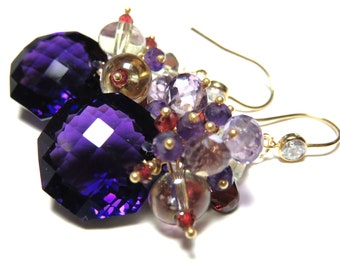 2 MONTHS SALE 20% CODE:SALE2016 Purple Amethyst Faceted Octagon Briolette and Gold Earrings