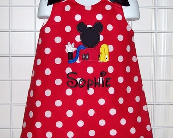 Red Minnie Polka Dot Mickey Mouse Clubhouse Applique Monogram A-line Dress