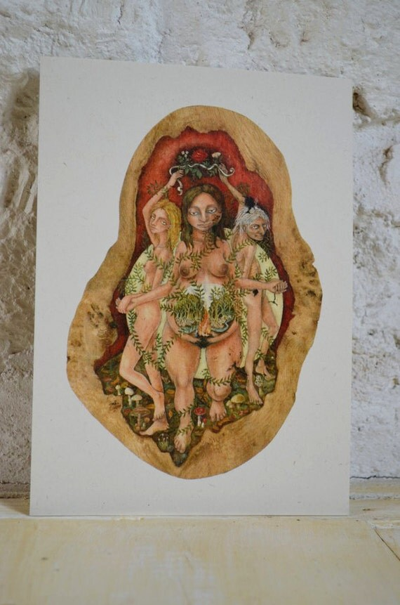 "Maiden Mother Crone - 7"" x 5"" print on cream card"