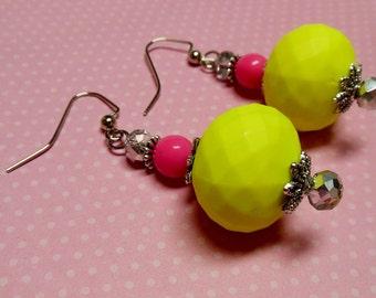 Florescent Yellow Beaded Drop Earrings