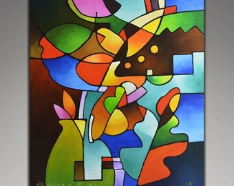 Cubist Still Life, Original Abstract Painting, acrylic painting, large wall art, geometric painting, MADE to ORDER