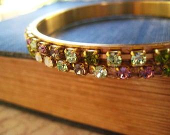 Boho Bangle Bracelet, Spring Colors, Vintage Brass, Rhinestone Chain, White Topaz, Light Lavender, Green Rhinestone, candies64