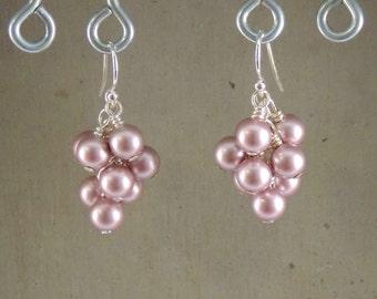 Swarovski Crystal Pearl Cluster Earrings Powder Rose