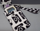 Women's Small Wristlet Wallet or Bag with Smart Phone Pocket Call Me Fabric
