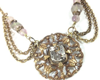 Fluorite Elegance ... Steampunk Victorian Watch Movement Necklace, Fluorite Gemstone  Victorian Elegant Steampunk Necklace, One of a Kind