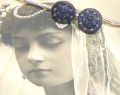 Antique BUTTON hair pins, Victorian twinkles in blue on silver bobby pins, hair grips, present gift.