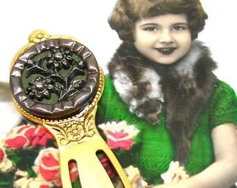 Antique BUTTON bookmark, Victorian flower button on gold.