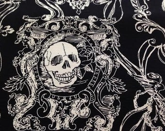 Alexander Henry FABRIC - Folklorico Canvas - Skull Duggery - Black