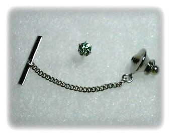 Green Demantoid Garnet Gemstone in 925 Sterling Silver Tie Tack January Birthstone