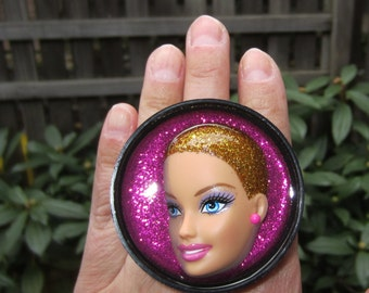 Blonde Ambition ring - upcycled Barbie doll