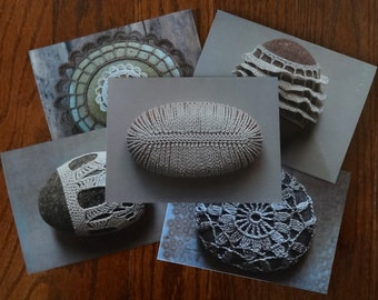 Blank Note Cards, Crocheted Lace Stone Cards, Set of 5, With Envelopes, Stationery, Monicaj