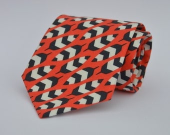 Men's Necktie in Coral Orange and Black Feathers - Fall Tie - Thanksgiving