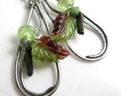 RESERVED for Jeremy Spring Leaves Earrings - Carved Tourmaline Leaves with Sterling Silver, Tourmaline and Grossular Garnet