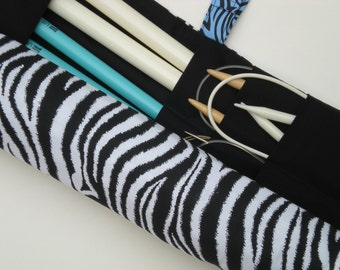 knitting needle case - knitting needle storage - knitting needle storage - circular knitting needle case - dpn storage - zebra print