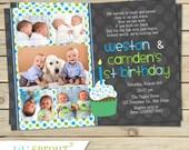 Twin First Birthday Invitation - Boy Twin 1st Birthday Invite - Twin Birthday Invitations - Printable Twin Invitations