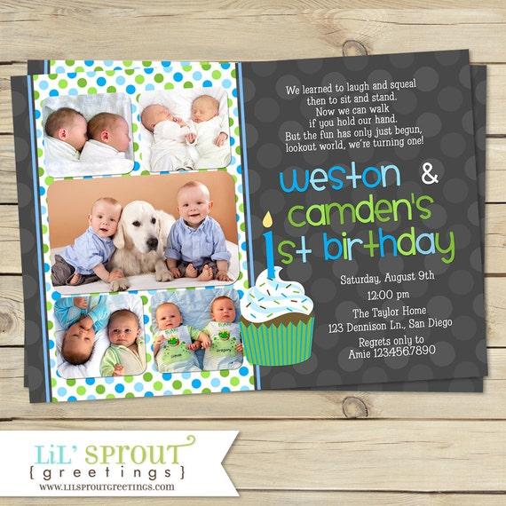 Twin First Birthday Invitation Boy Twin 1st Birthday Invite