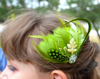 Sparkling Green Feather Side Comb Bridal Wedding Hair Fascinator