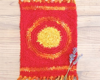 Silk Rug - Small Tapestry Table Accent - Summer Sun - Fire in the Sky STR03