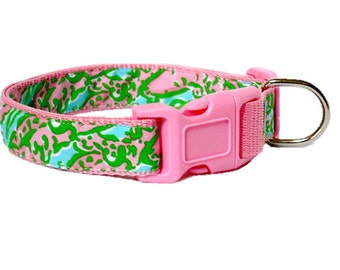 Dog Collar Made from Lilly Pulitzer Chomp Chomp Fabric on Pink Size: Your Choice