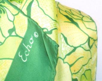 Big Island Green - a vintage 1960's Echo Silk Scarf