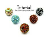 XL Beaded Bead Pattern, Beading Instructions, Peyote Tutorial, 19mm Size To Cover 15mm Wooden Beads