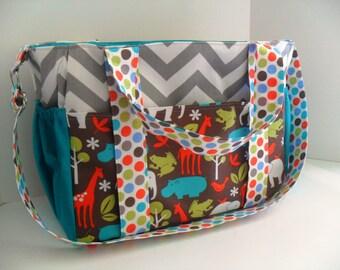 Extra Large Diaper bag Made of Chevron / Zoology   Fabrics / 10 Pockets / Adjustable Strap