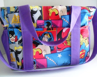 Woner Woman Diaper bag - DC Comics / Super Hero / Comic Book Fabrics / Wonder Woman / Batgirl / Girl Power - Diaper Bag - School Bag